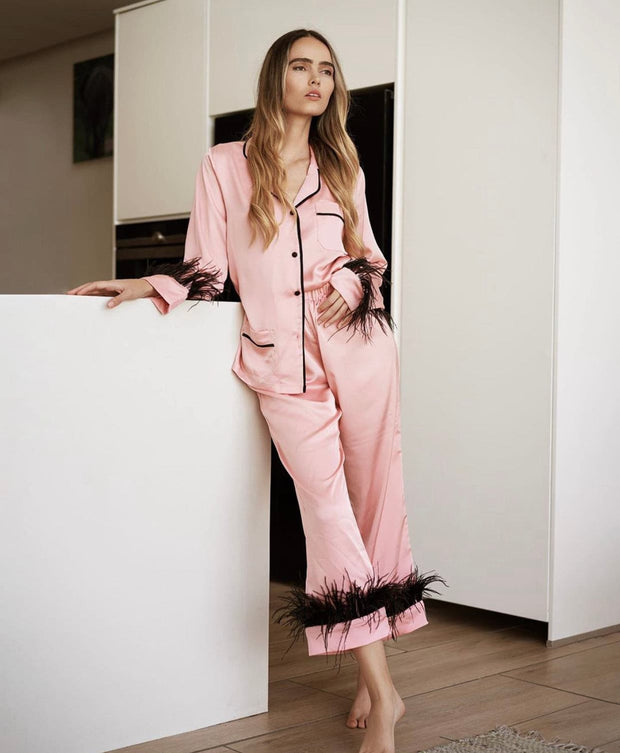 Contrast Piping Long Sleeve Pyjamas Set with Feathers