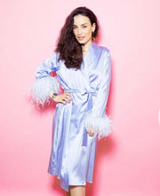 Satin Feather Long Sleeve Pyjamas Set