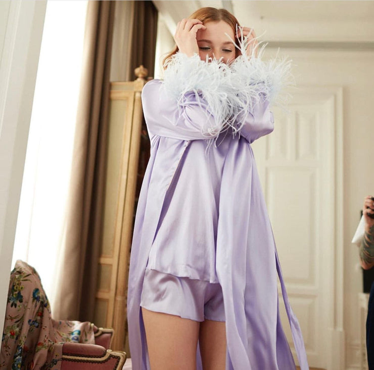 Satin Feather Long Sleeve Pyjamas Set - Amelie Baku Couture