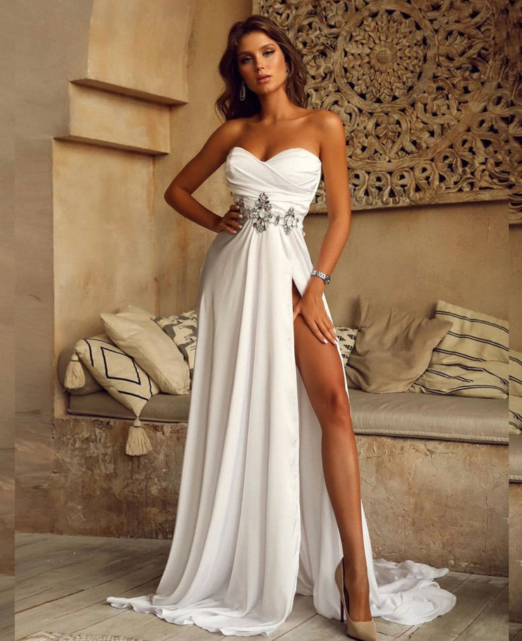 Strapless gown with side split and sweep train