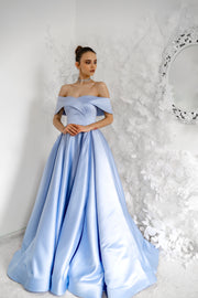 Off-Shoulder A-Line Satin Livia Gown
