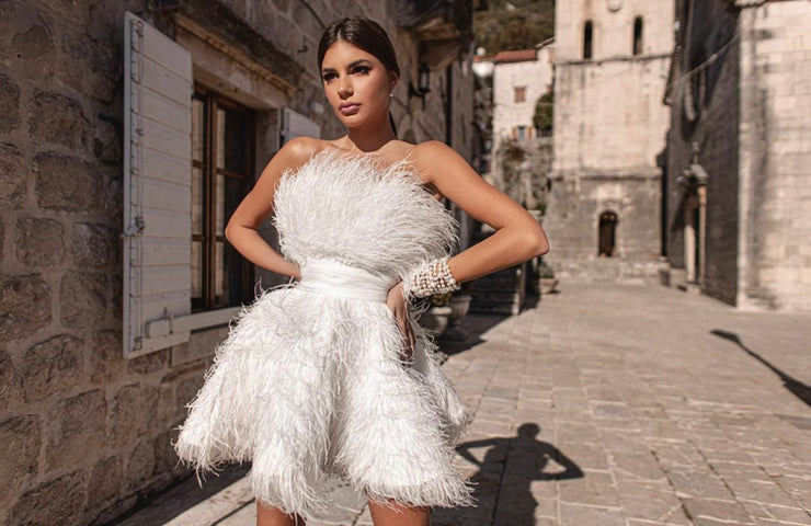 Chic short formal dress with feathered - Amelie Baku Couture