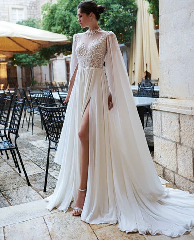 Lace A-line gown with high front and long bat sleeve - Amelie Baku Couture