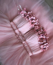 Flower decorated A-line Tulle Dress