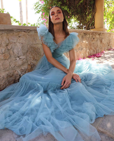 Sky blue tulle dress with ruffle - Amelie Baku Couture