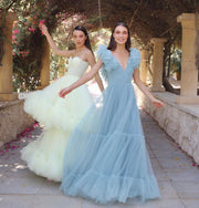 Sky blue tulle dress with ruffle
