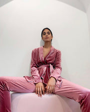 Velvet Long Sleeve Pyjamas Set