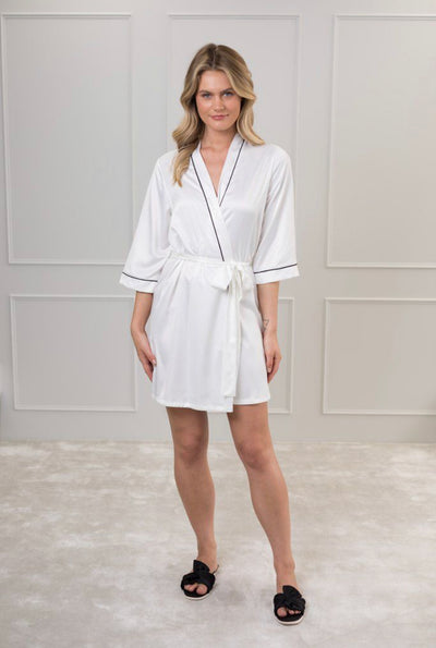 Contrast Piping Satin Robe - Amelie Baku Couture