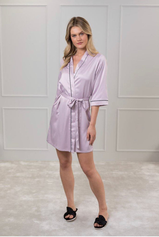 Contrast Piping Satin Robe