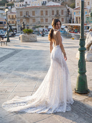 Halter Neckline Open Back Gown with a 3D Flowers - Amelie Baku Couture