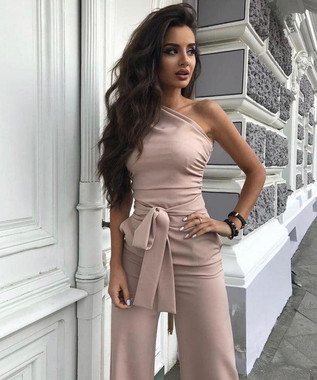 One Shoulder Sleeveless Jumpsuit - Amelie Baku Couture