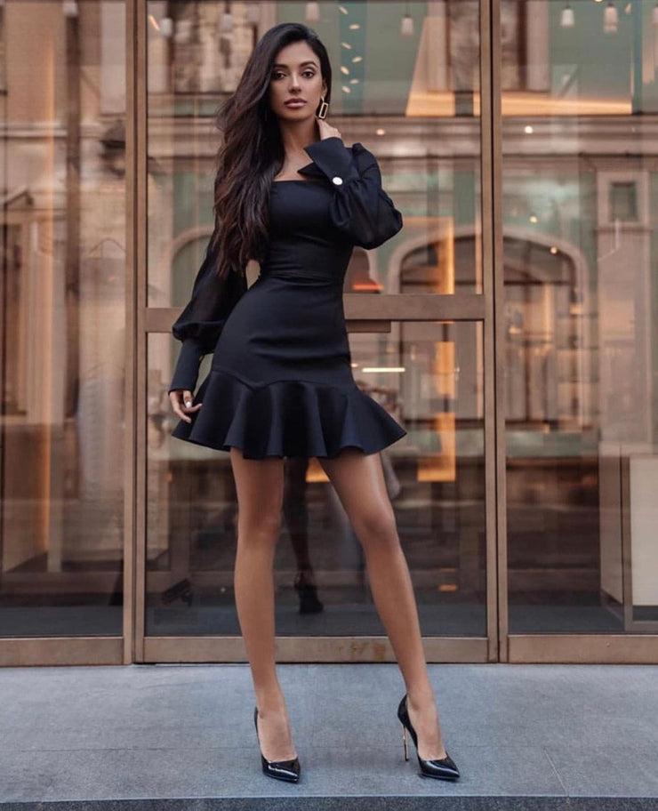 Long Sleeve Midi Dress in Black