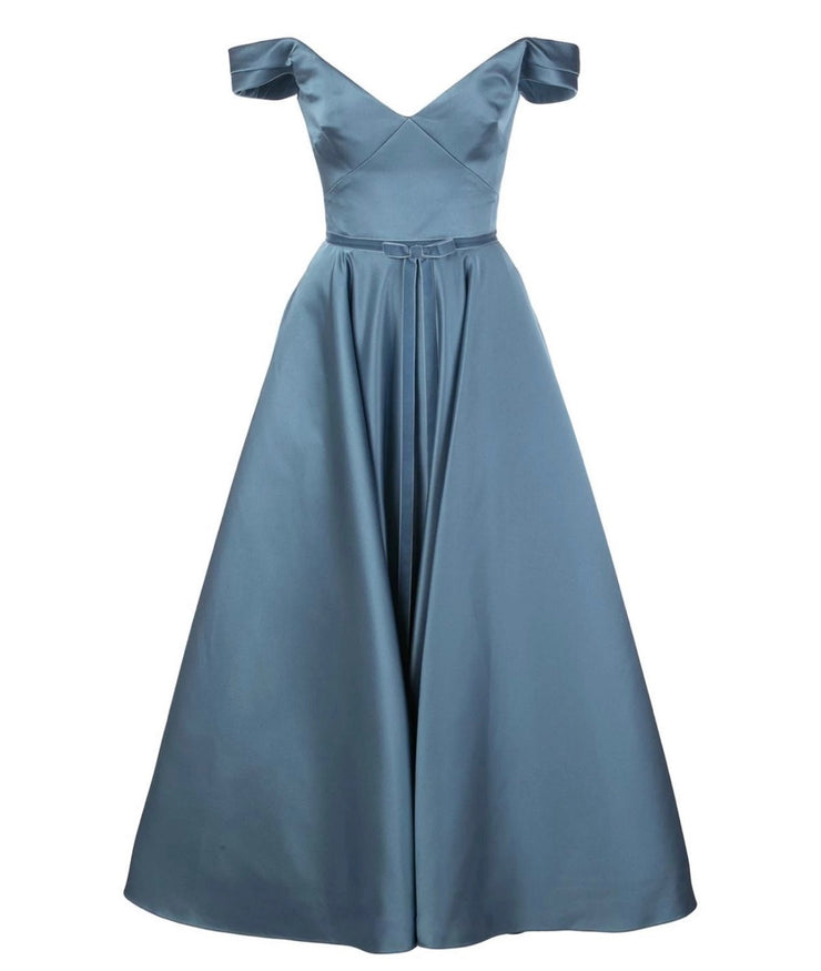 Fold-over off-shoulder ball gown designed