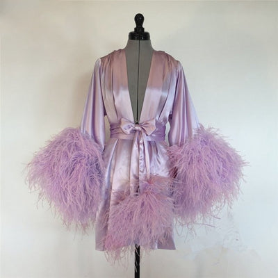 Deep V-Neck Silk Feather Robe