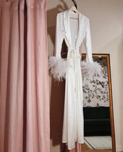 Satin Feather Long Sleeve Robe - Amelie Baku Couture