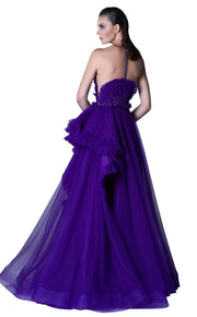Fantasy illusion formal with ruffle edging