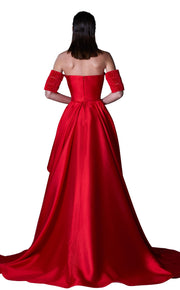 Red Gown with full-length split