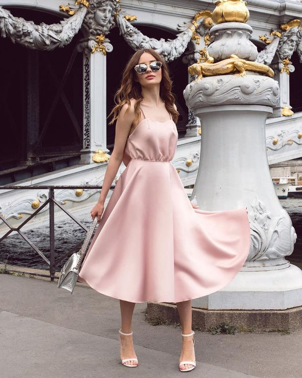 "Sleeveless nude pink ""BABY"" dress from Bloom Collection - Amelie Baku Couture"
