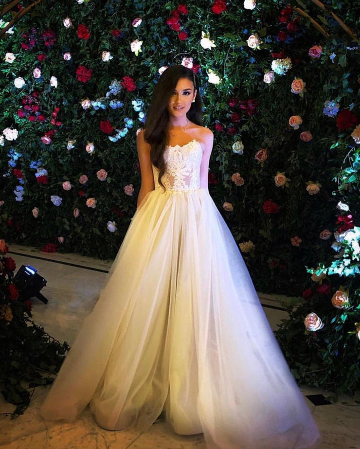 Bridal Tulle dress with sequin sweetheart neckline