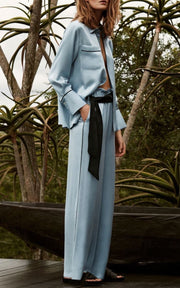 Blue Top & Wide Leg Trouser