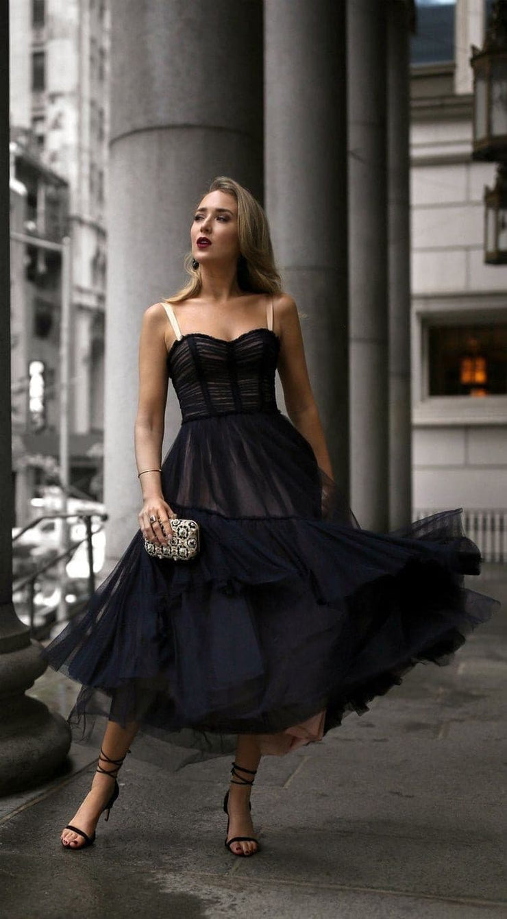 Sultry straight neckline dress
