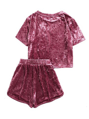 Crushed Velvet Top and Bow Shorts