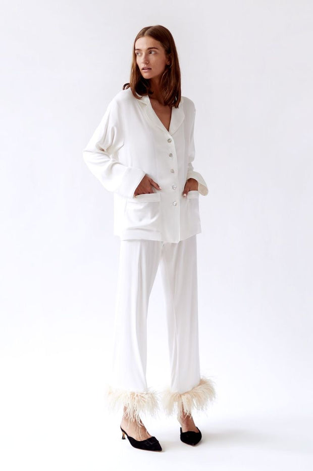 Long Sleeve Pyjamas Set with a Feather leg trousers - Amelie Baku Couture