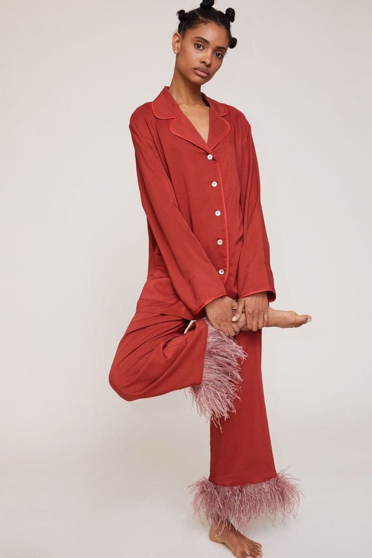 Long Sleeve Pyjamas Set with a Feather leg trousers