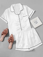 Contrast Piping Satin Pyjamas Set