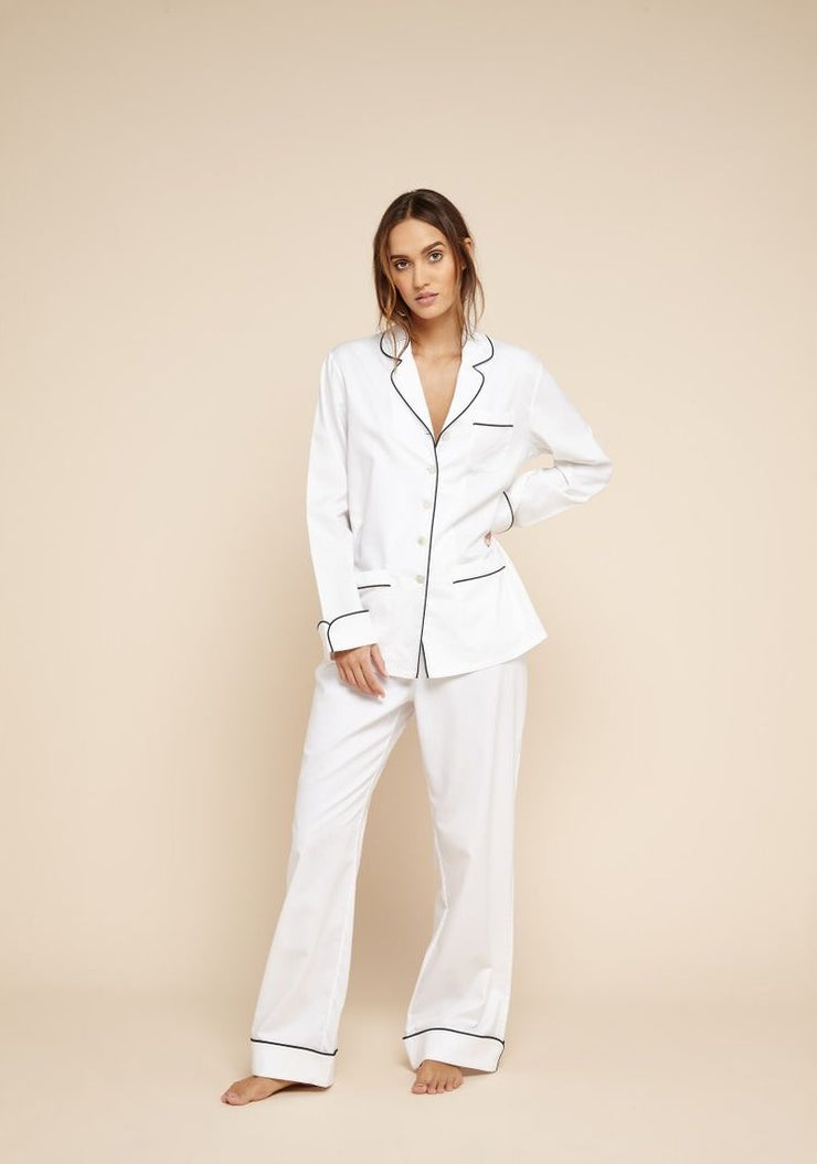 Contrast Piping Full Length Silk Pyjamas Set - Amelie Baku Couture