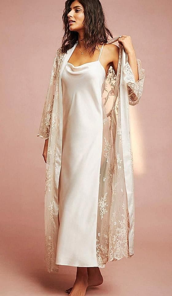 Satin & Lace Nightgown - Amelie Baku Couture