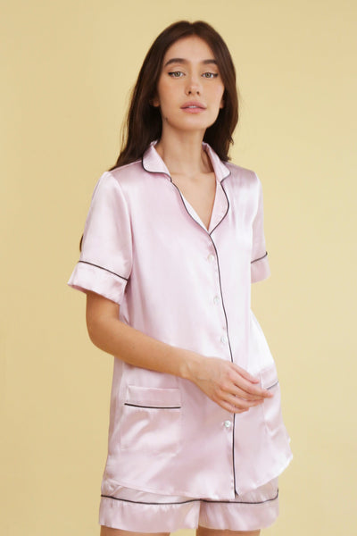 Contrast Piping Satin Pyjamas Set - Amelie Baku Couture