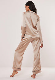 Long Sleeve Piped Trim Pyjamas Set