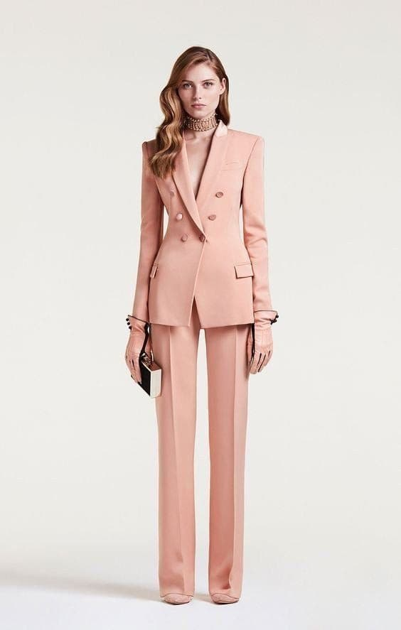 Peak Lapel Button Jacket+Pants Suit