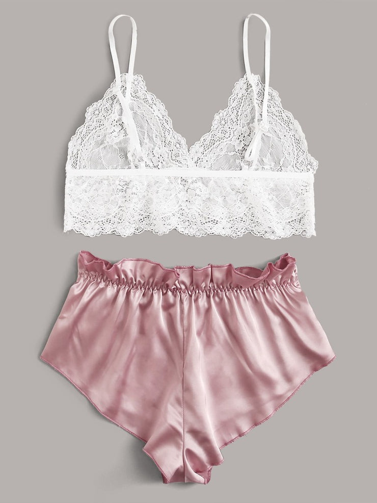 Contrast Lace Satin Lingerie Set
