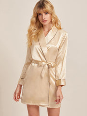 Long Sleeve Satin Robe - Amelie Baku Couture