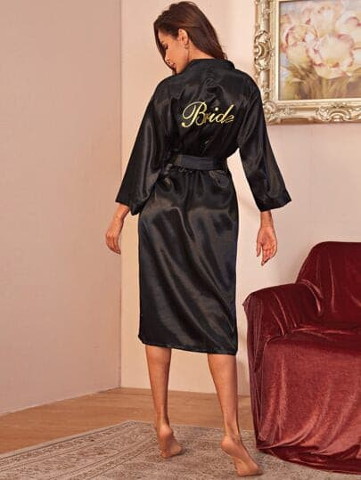 Letter Graphic Belted Satin Robe