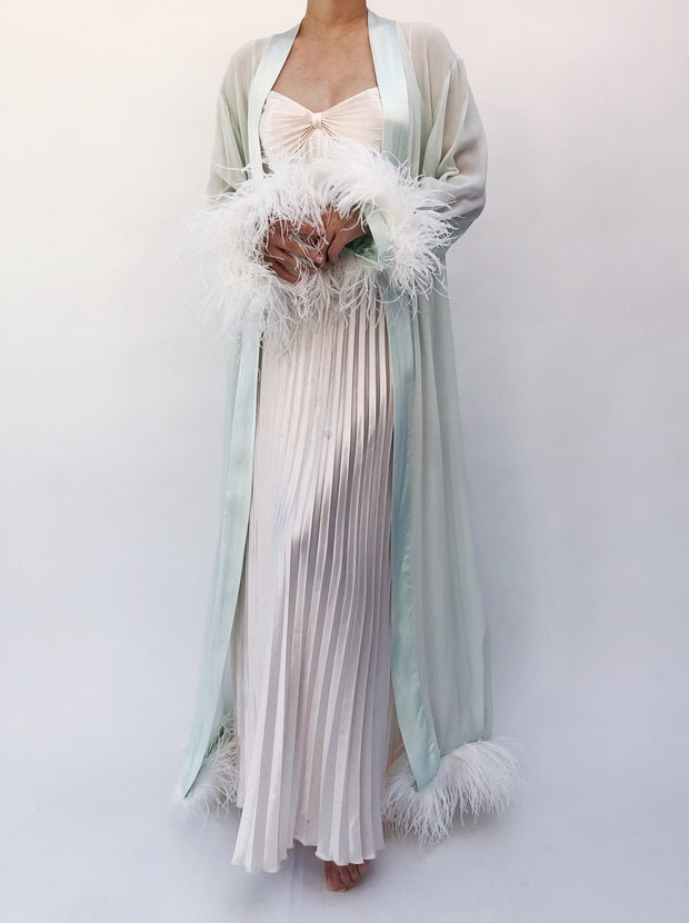 Ostrich Feather Robe and Sweetheart Neckline Dress - Amelie Baku Couture
