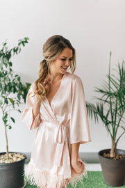 Long Sleeve Satin Feather Robe - Amelie Baku Couture