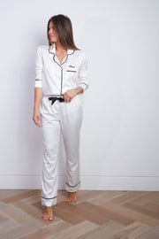 Contrast Piping Long Sleeve Satin Pyjamas Set