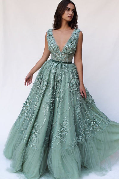 V-neck Applique Tulle Long Dress