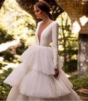 Peony Collection - Long Sleeve White Gown