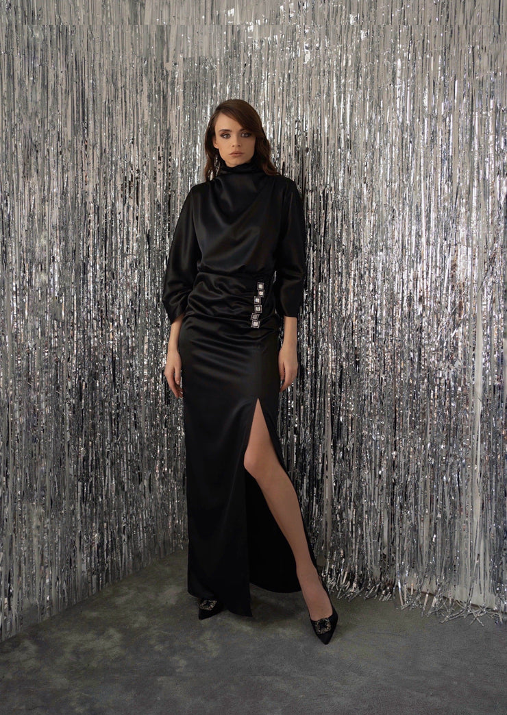 High-Neck Long Sleeves Black Dress with a Slit - Amelie Baku Couture