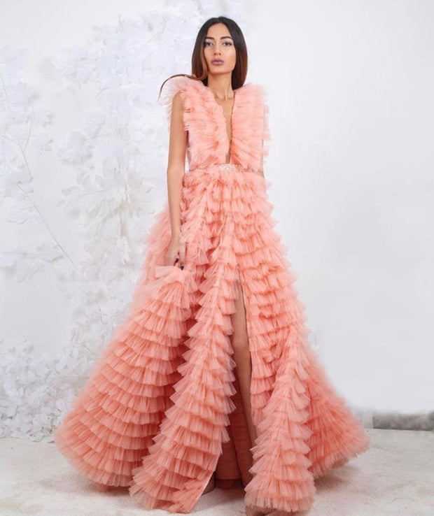 CLAUDIA GOWN PEACH - Amelie Baku Couture