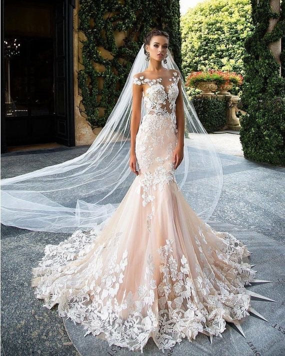 Captivating floral embroidered mermaid gown