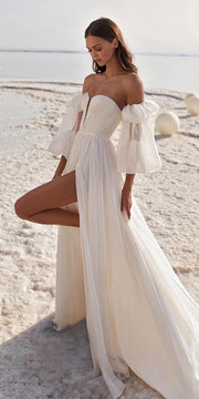 A-Line Chiffon Gown with Pleated Bodice and Blouson Sleeves - Amelie Baku Couture