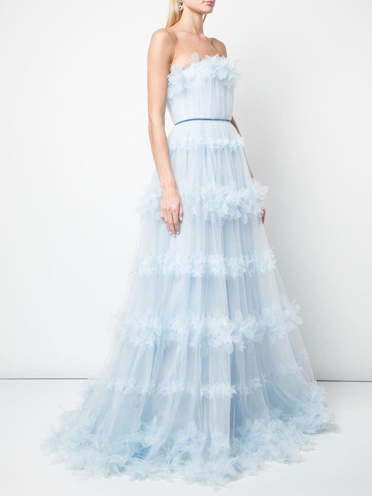 Strapless appliquéd trimmed tulle gown