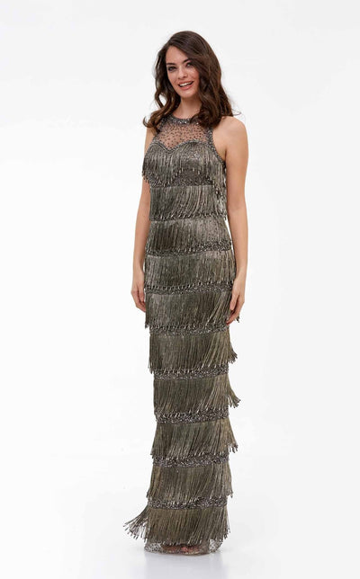 Full-length flapper evening gown with halter bodice