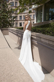 High Neck Open Back Gown with Beads