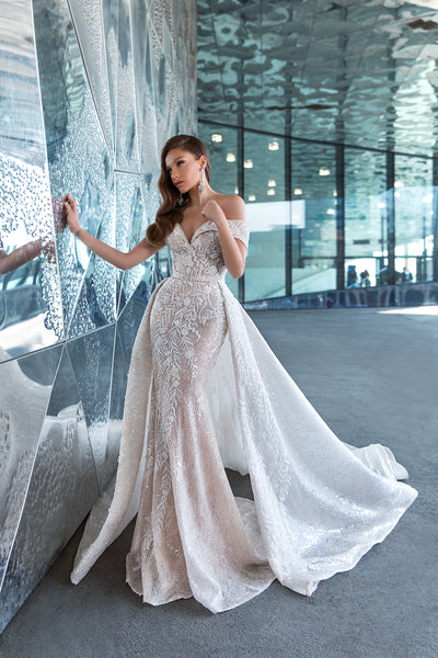 Fabulous off-the-shoulder gown with overskirt